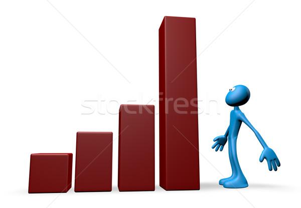 Successo blu ragazzo grafico di affari illustrazione 3d segno Foto d'archivio © drizzd