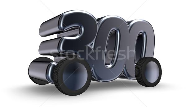 Trzy sto koła numer 3d ilustracji samochodu Zdjęcia stock © drizzd