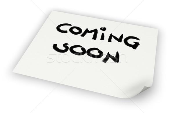 Hamarosan jön címke papír lap 3D renderelt kép Stock fotó © drizzd
