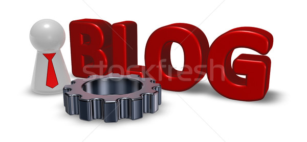 the word blog, pawn with tie and gear wheel Stock photo © drizzd
