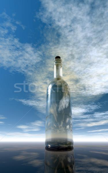 Wiadomość butelki mętny niebo 3d ilustracji papieru Zdjęcia stock © drizzd
