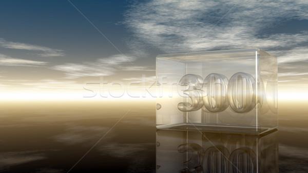 Stok fotoğraf: Numara · üç · yüz · cam · küp · bulutlu