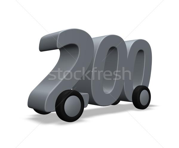 Twee honderd wielen aantal 3d illustration auto Stockfoto © drizzd