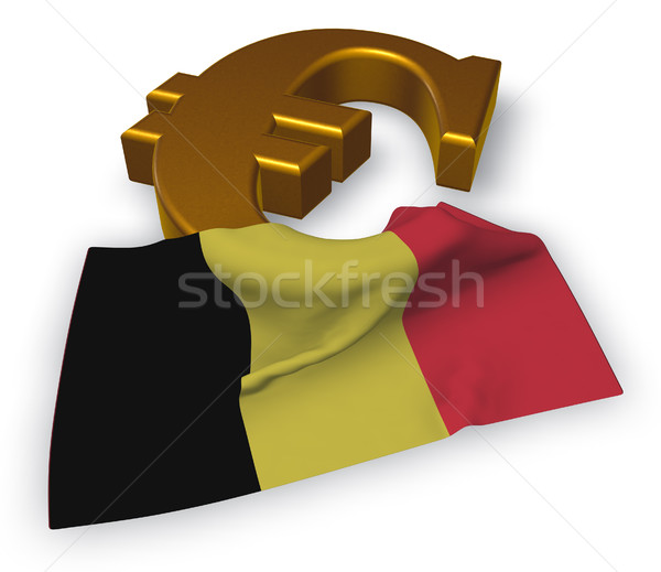 euro symbol and belgian flag - 3d illustration Stock photo © drizzd