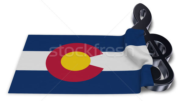 clef symbol and flag of colorado - 3d rendering Stock photo © drizzd