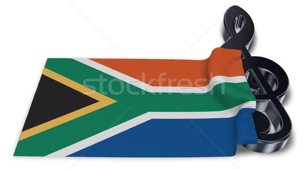clef symbol symbol and flag of south africa - 3d rendering Stock photo © drizzd