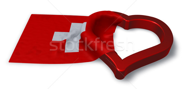 Bayrak İsviçre kalp simge 3D Stok fotoğraf © drizzd