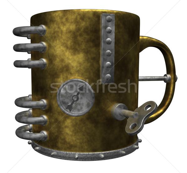 стимпанк кружка белый 3d иллюстрации кофе пить Сток-фото © drizzd