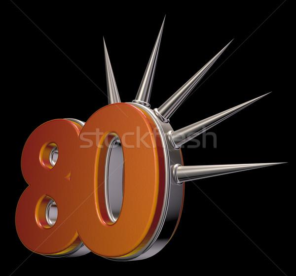 Numer osiemdziesiąt czarny 3d ilustracji metal stylu Zdjęcia stock © drizzd