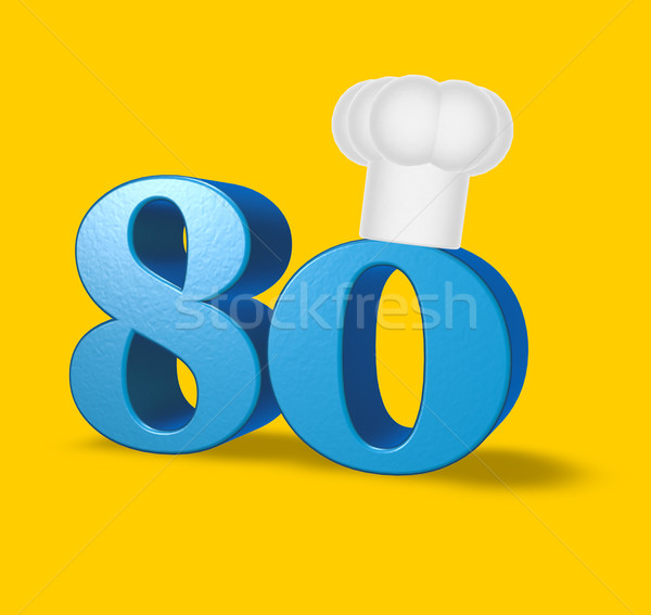 number eighty with cook hat Stock photo © drizzd