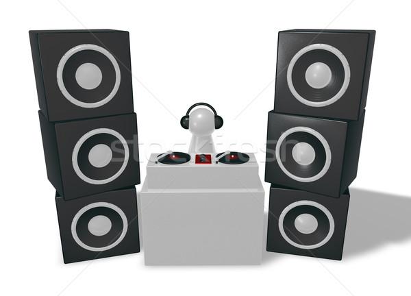 Dídzsé lemezjátszók 3d illusztráció klub fekete lemezjátszó Stock fotó © drizzd