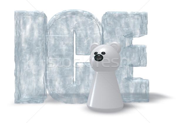 Urso polar gelo palavra branco ilustração 3d feliz Foto stock © drizzd