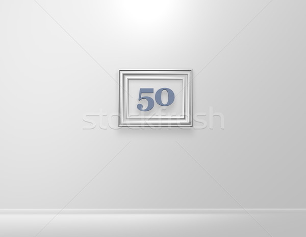 Nombre cinquante cadre photo blanche mur 3d illustration Photo stock © drizzd