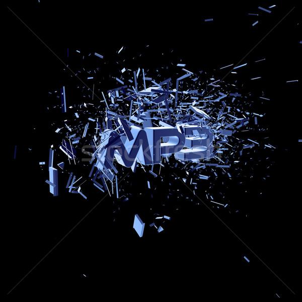 Mp3 cartas preto ilustração 3d música internet Foto stock © drizzd