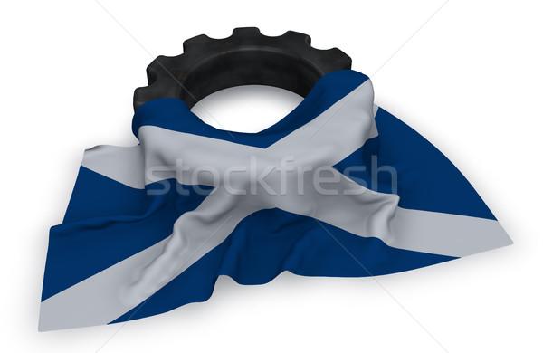 ギア ホイール フラグ スコットランド 3D レンダリング ストックフォト © drizzd