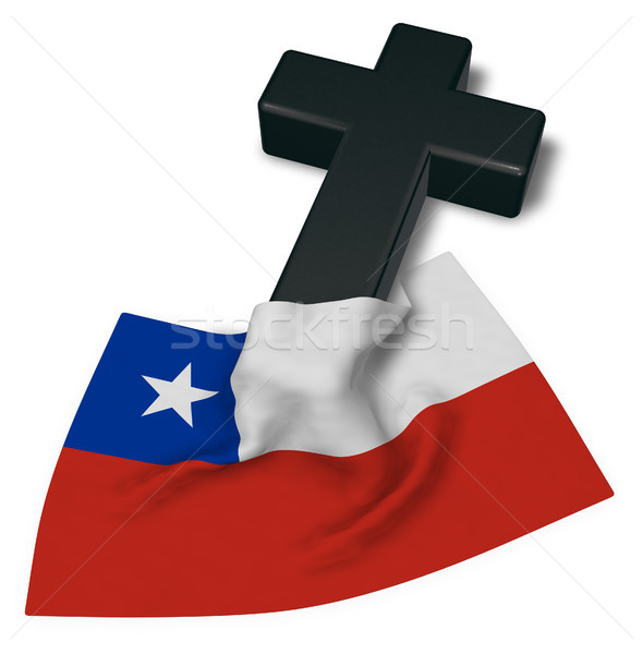 christian cross and flag of chile - 3d rendering Stock photo © drizzd