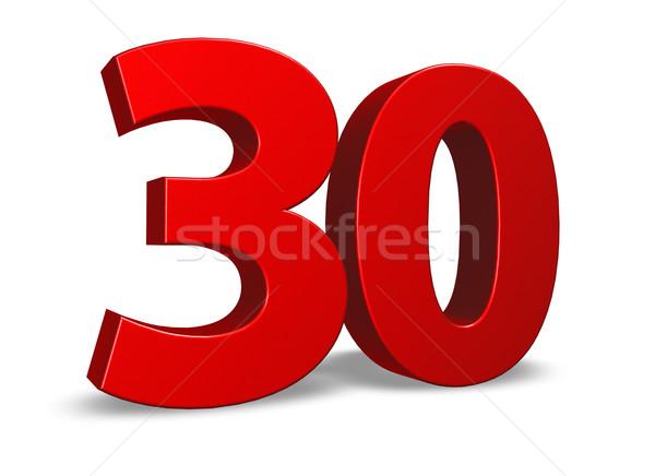 Aantal dertig Rood witte 3d illustration verjaardag Stockfoto © drizzd