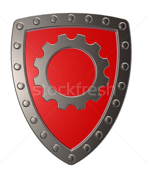 Stockfoto: Schild · versnelling · wiel · metaal · symbool · witte