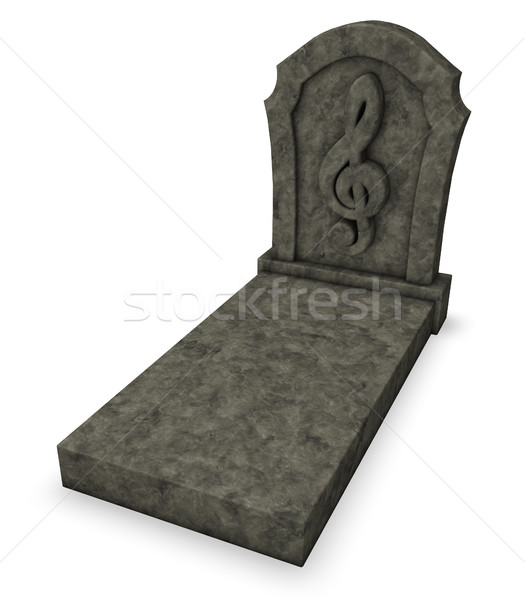 gravestone with clef symbol - 3d rendering Stock photo © drizzd