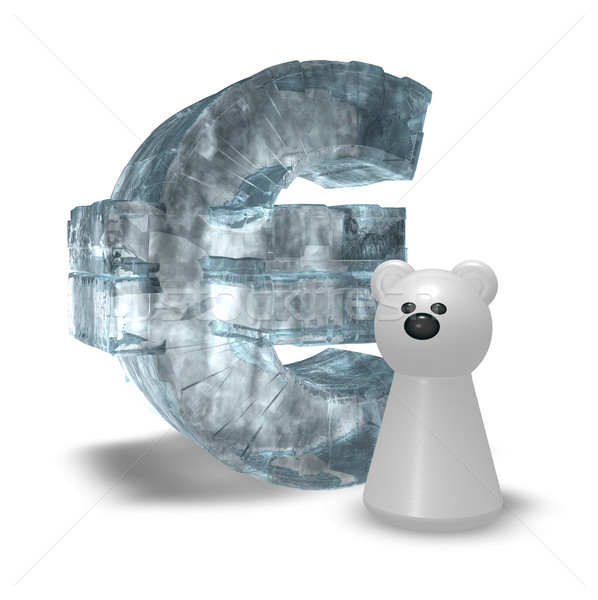 ice euro symbol and white bear pawn - 3d rendering Stock photo © drizzd