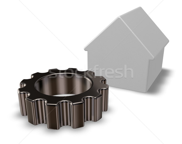 house model and gear wheel - 3d rendering Stock photo © drizzd