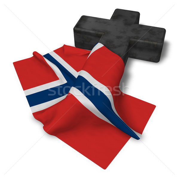 christian cross and flag of norway - 3d rendering Stock photo © drizzd