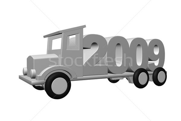 év 2009 öreg teherautó 3d illusztráció út Stock fotó © drizzd