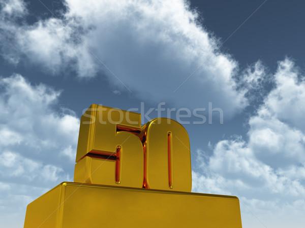 пятьдесят числа Blue Sky 3d иллюстрации вечеринка пейзаж Сток-фото © drizzd
