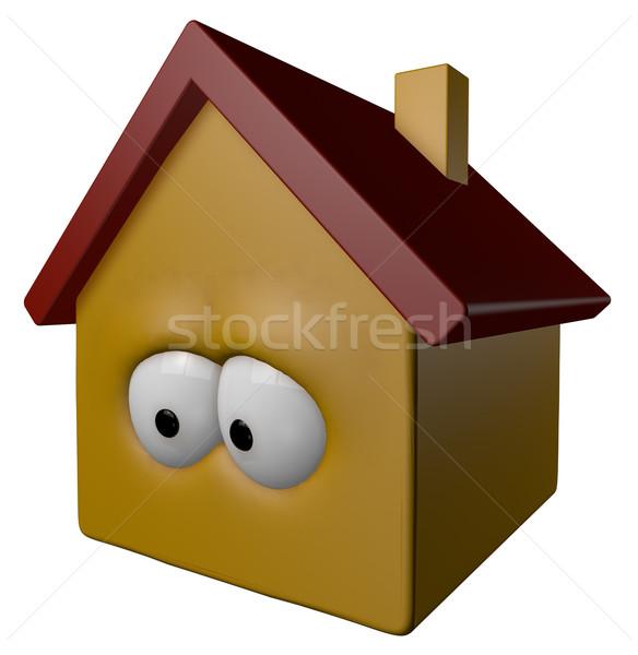 Casa desenho animado olhos ilustração 3d cara edifício Foto stock © drizzd