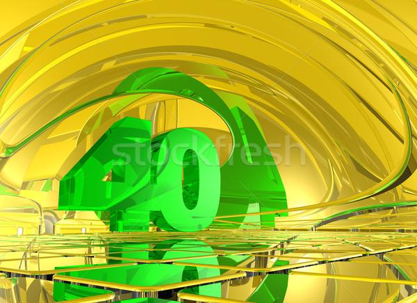 Numer czterdzieści streszczenie lustra przestrzeni 3d ilustracji Zdjęcia stock © drizzd