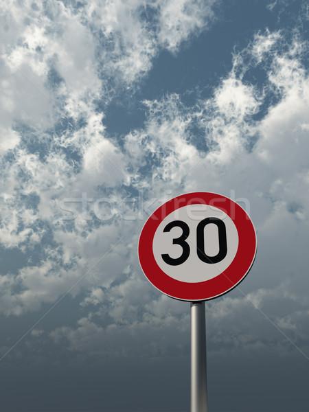 Limite de velocidade trinta nublado céu ilustração 3d Foto stock © drizzd