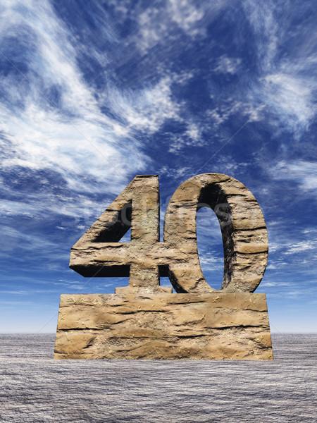 Nombre quarante pierre nuageux ciel bleu 3d illustration Photo stock © drizzd