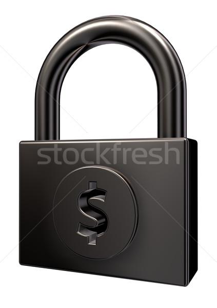 Stock fotó: Lakat · dollár · szimbólum · fehér · 3d · illusztráció · üzlet