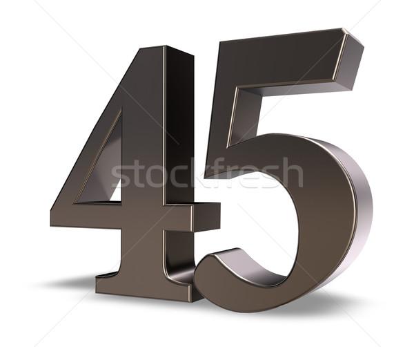 Numara kırk beş Metal beyaz 3d illustration Stok fotoğraf © drizzd