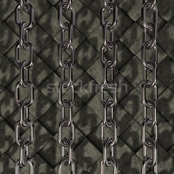 チェーン 石 金属 キューブ 3次元の図 業界 ストックフォト © drizzd
