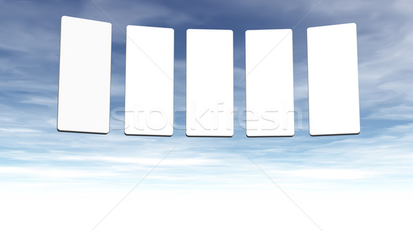 Galerij presentatie vijf onderdelen pluizig hemel Stockfoto © drizzd
