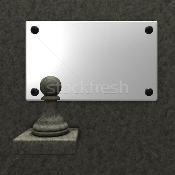 Pietra scacchi pedone bianco segno 3D Foto d'archivio © drizzd