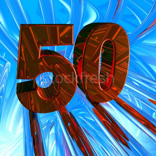 Zahl fünfzig abstrakten Raum 3D-Darstellung Jahrestag Stock foto © drizzd