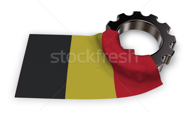 gear wheel and flag of belgium - 3d rendering Stock photo © drizzd