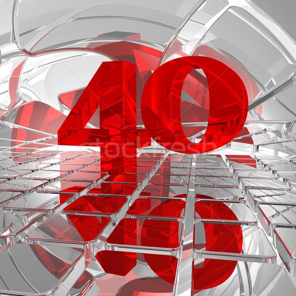 Czterdzieści czerwony numer chrom płytek 3d ilustracji Zdjęcia stock © drizzd
