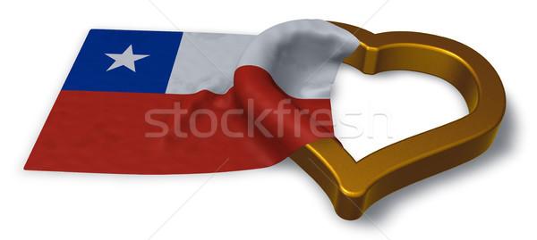Zászló Chile szív szimbólum 3D renderelt kép Stock fotó © drizzd