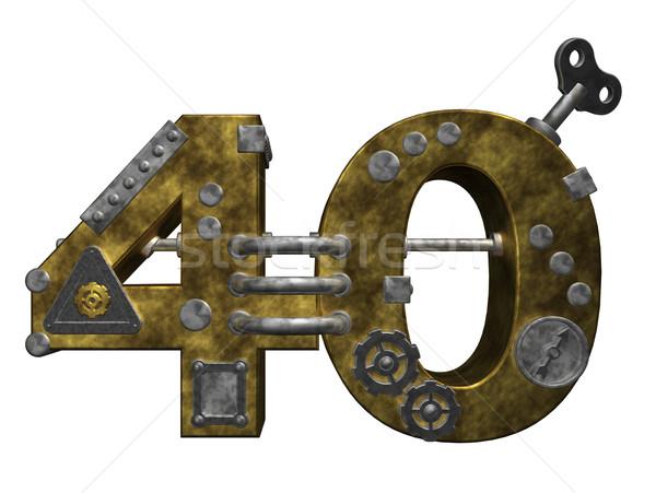Numara kırk steampunk beyaz 3d illustration finanse Stok fotoğraf © drizzd