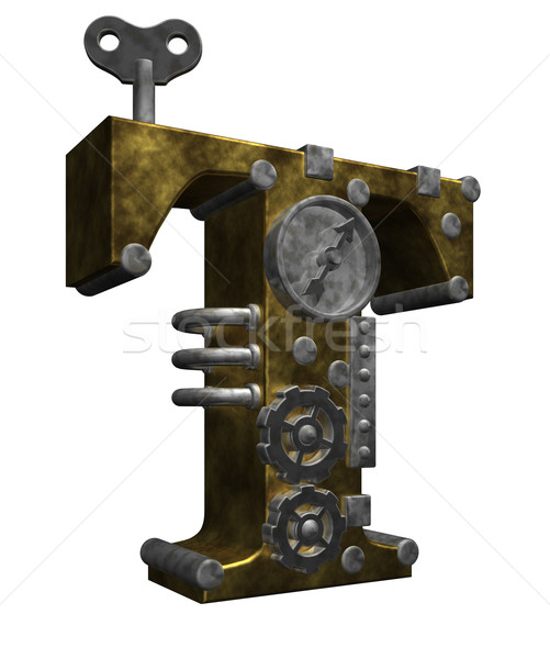 Steampunk lettre t blanche 3d illustration technologie métal Photo stock © drizzd