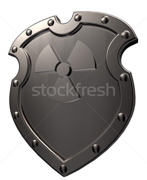 Nukleáris pajzs fém szimbólum 3d illusztráció rádió Stock fotó © drizzd