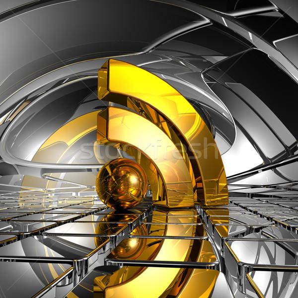 Rss símbolo abstrato espaço ilustração 3d computador Foto stock © drizzd