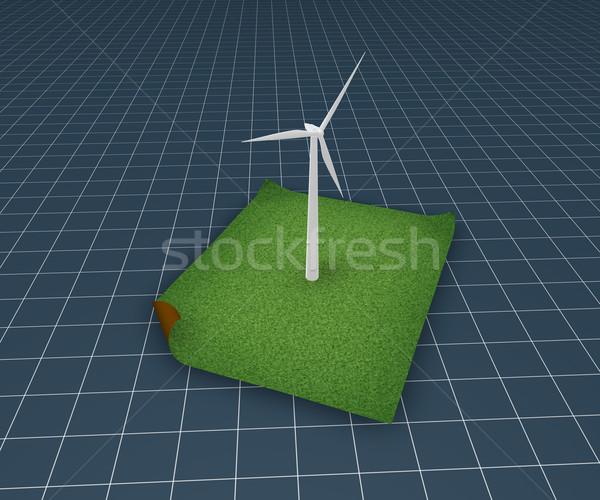 Чистая энергия ветровой турбины трава 3d иллюстрации энергии будущем Сток-фото © drizzd