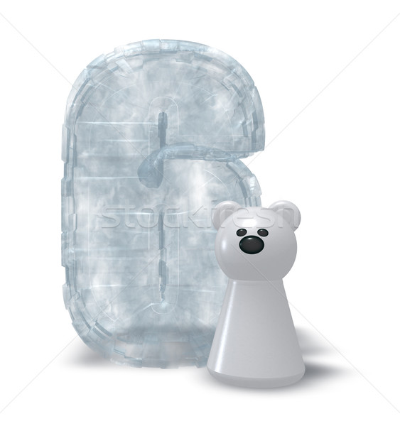 льда числа полярный медведь заморожены шесть 3d иллюстрации Сток-фото © drizzd