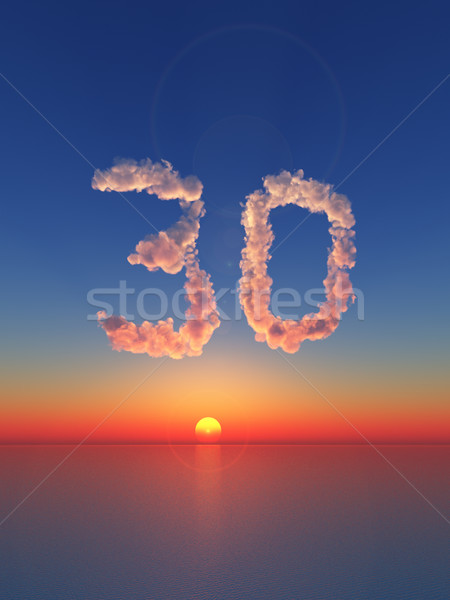 Nuageux trente nuages forme nombre 3d illustration Photo stock © drizzd