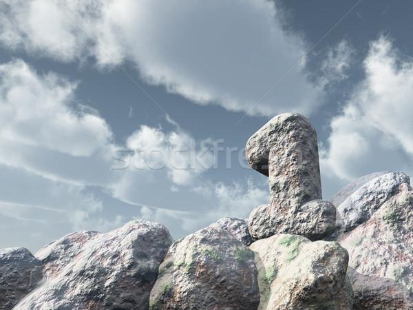 Legelső kő felhős kék ég 3d illusztráció tájkép Stock fotó © drizzd
