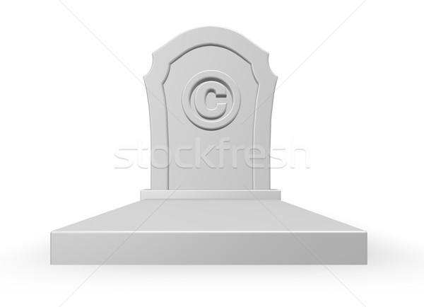 Direitos autorais morto símbolo lápide ilustração 3d projeto Foto stock © drizzd